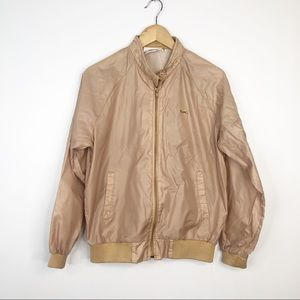 Lacoste Vintage Tan Windbreaker Bomber Jacket